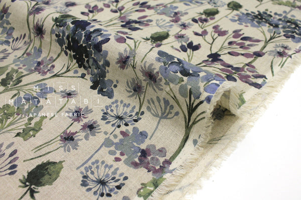 Japanese Fabric 100% Linen Summer - ink, eggplant, green -  50cm