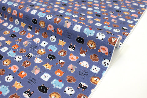 Japanese Fabric Kokka Tiny Faces - blue - 50cm
