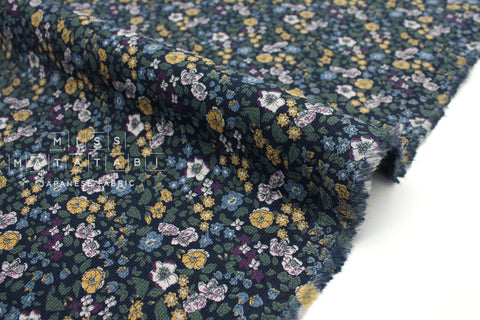 Japanese Fabric Corduroy Floral - forest green - 50cm