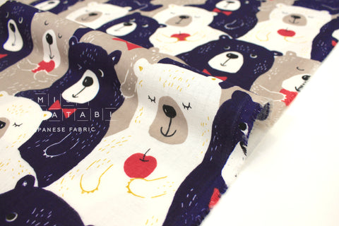 Japanese Fabric Kokka Love Bears - navy blue, taupe - 50cm