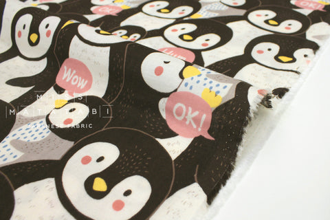 Japanese Fabric Kokka Chatty Penguins - pink - 50cm