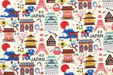Japanese Fabric Kokka Hello Japan - cream - 50cm