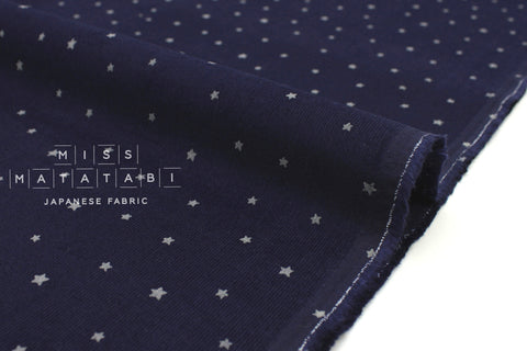 Japanese Fabric Kokka Corduroy Little Stars - navy blue - 50cm
