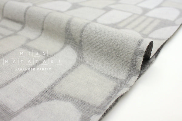 Japanese Fabric Kokka Olu Amu - jacquard knit Yama - light grey - 50cm