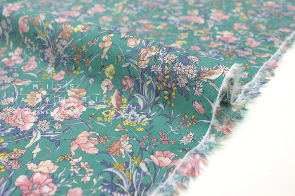Japanese Fabric Lush Floral cotton lawn - green, peach - 50cm