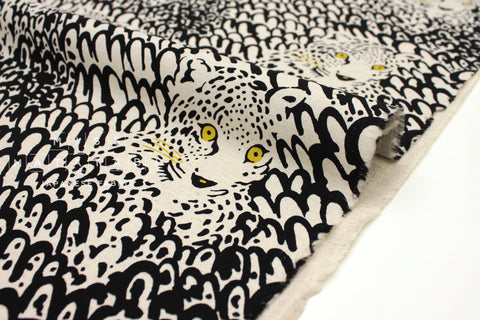 Japanese Fabric Leopard Canvas - black - 50cm