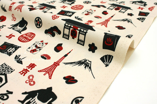 Japanese Fabric Kokka Traditional Japan - cream, navy, red - 50cm