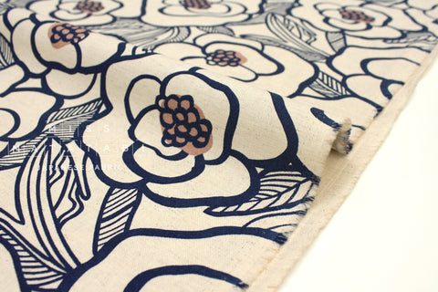 Japanese Fabric Bold Floral Canvas - blue - 50cm