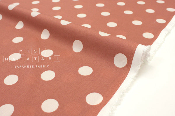 Japanese Fabric Polka Dots rayon lawn - clay - 50cm