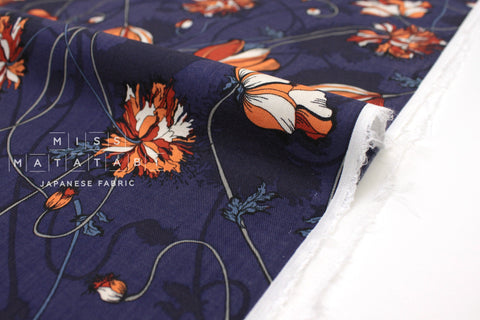 Japanese Fabric Trailing Floral Wool Rayon Twill - royal blue - 50cm
