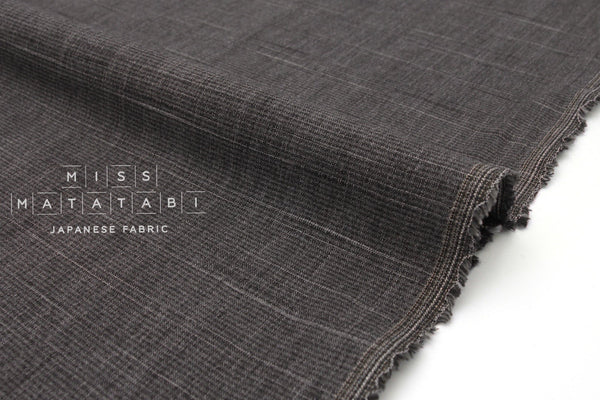 Japanese Fabric Yarn Dyed Slub Mini Check - charcoal grey - 50cm