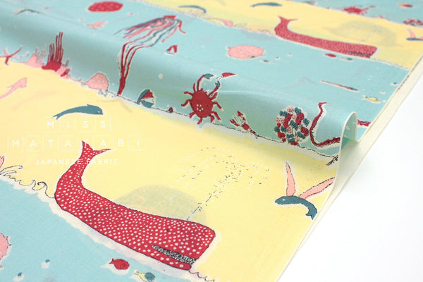 Japanese Fabric Under The Sea Lawn - blue, yellow, red - 50cm