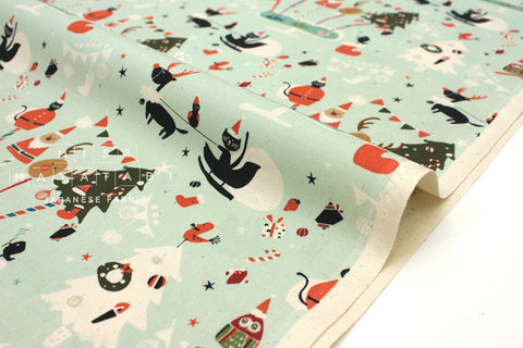 Japanese Fabric Cotton + Steel Waku Waku Christmas - holiday party - aqua - 50cm