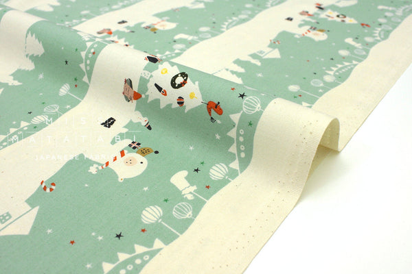 Japanese Fabric Cotton + Steel Waku Waku Christmas - Mr. Polar Bear - aqua - fat quarter