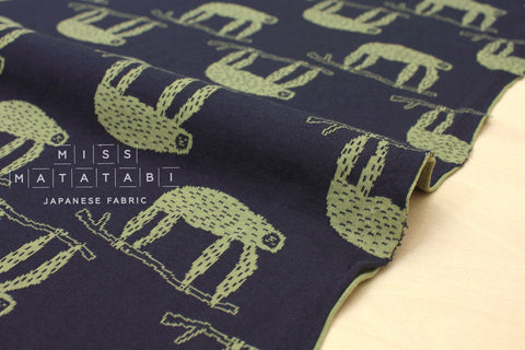 Japanese Fabric Sloths reversible double knit - navy blue, green - 50cm