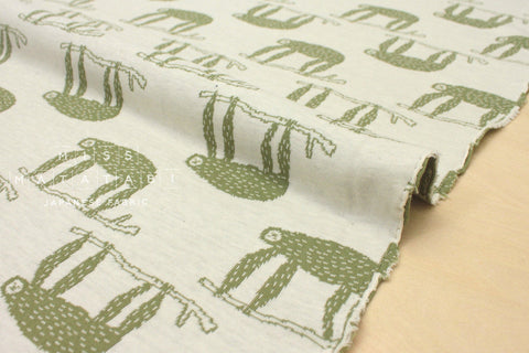 Japanese Fabric Sloths reversible double knit - olive, cream - 50cm