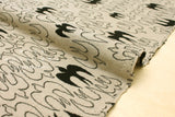 Japanese Fabric Swallows reversible double knit - latte, black - 50cm