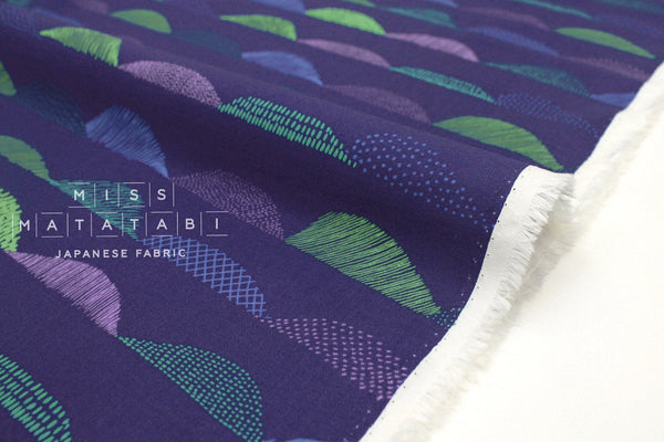 Japanese Fabric Kokka PIKKU SAARI - Tunturi - blue, purple, green - 50cm