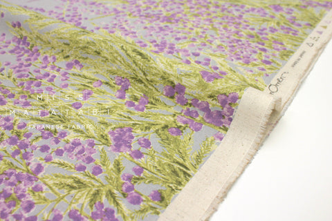 Japanese Fabric Mimosa Border -  grey, mauve - 50cm