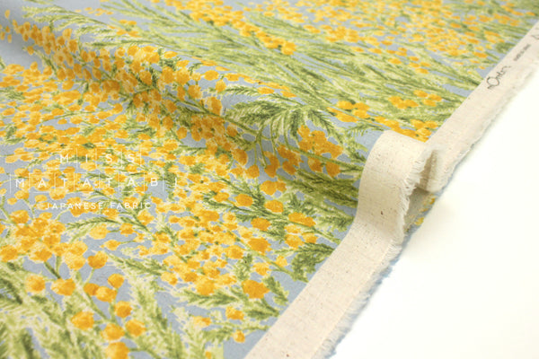 Japanese Fabric Mimosa Border -  yellow, blue - 50cm