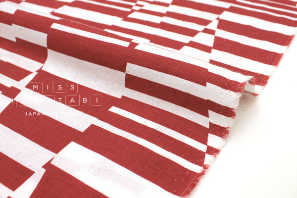 Japanese Fabric Kokka Cocca Shimauma - red - 50cm