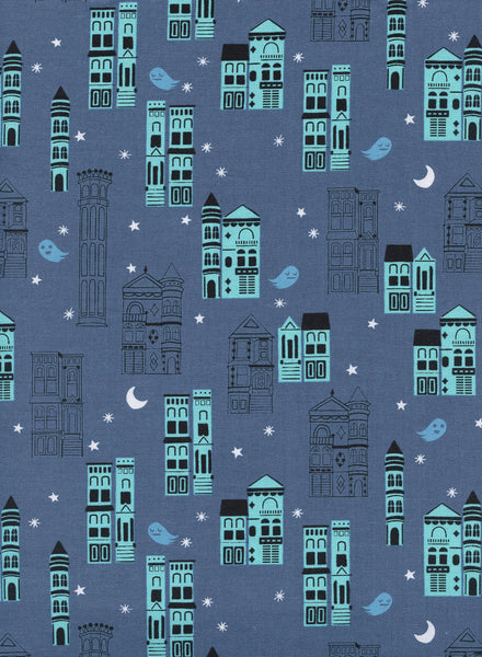 Cotton + Steel Eclipse - haunrted city grey blue - 50cm