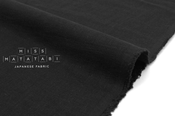 Japanese Fabric Kobayashi Solid  Linen Cotton Double Gauze - black - 50cm