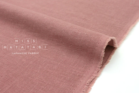 Japanese Fabric Kobayashi Solid  Linen Cotton Double Gauze - mauve pink - 50cm