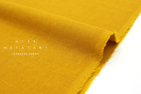 Japanese Fabric Kobayashi Solid  Linen Cotton Double Gauze - mustard - 50cm