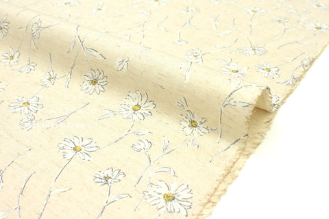 Japanese Fabric Daisies - white, natural - 50cm