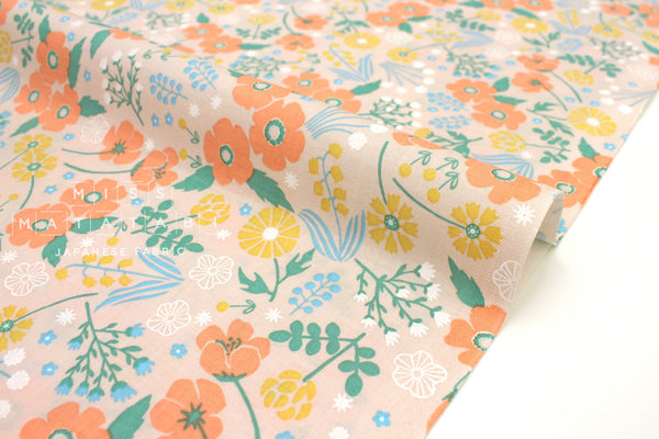 Japanese Fabric Nina Anemone Flowers II - orange - 50cm