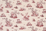Japanese Fabric Animal Toile Brushed Twill - wine, latte - 50cm