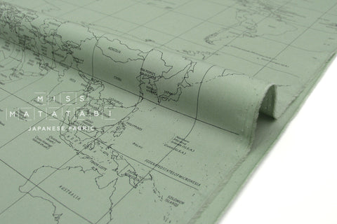 Japanese Fabric World Map - sage green  - 50cm