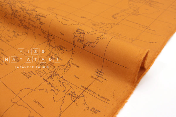 Japanese Fabric World Map - burnt orange  - 50cm