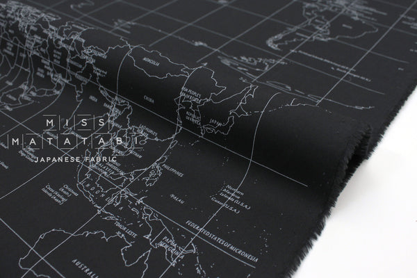 Japanese Fabric World Map - black  - 50cm