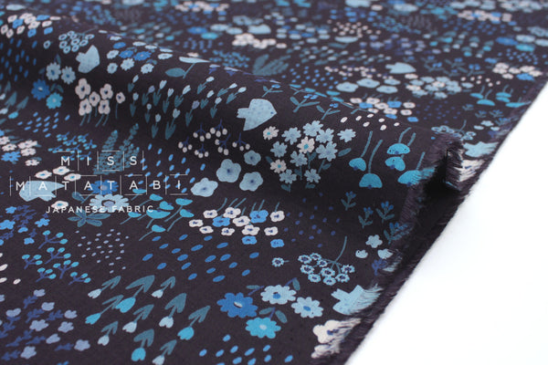 Japanese Fabric Kokka Hokkori Life - Meadow - indigo blue - 50cm
