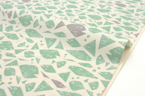 Japanese Fabric Cotton + Steel By The Seaside - Happy Fish aqua - fat quarter