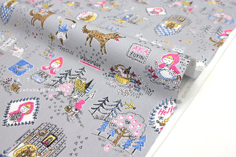 Japanese Fabric Kokka Little Red Riding Hood - grey - 50cm