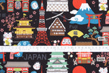 Japanese Fabric Kokka Hello Japan - black - 50cm