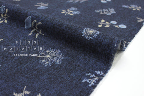 Japanese Fabric Kokka Autumn Forest I - navy blue - 50cm