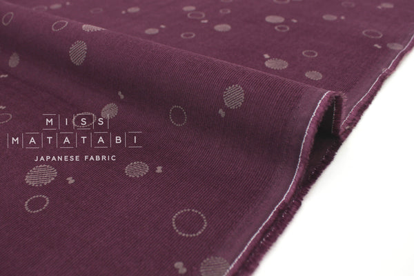Japanese Fabric Kokka Corduroy Bubbles - berry - 50cm