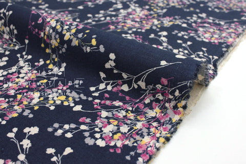Japanese Fabric Floral Sprigs - navy blue - 50cm