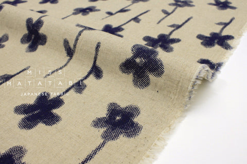 Japanese Fabric Print Flower - natural, navy blue - 50cm