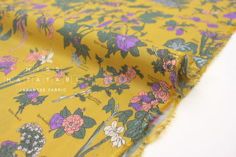 Japanese Fabric Floral Encyclopedia cotton lawn - mustard - 50cm