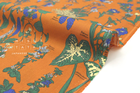Japanese Fabric Floral Encyclopedia cotton lawn - burnt orange - 50cm