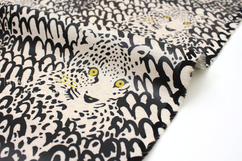 Japanese Fabric Leopard Canvas - black - laminated - 50cm