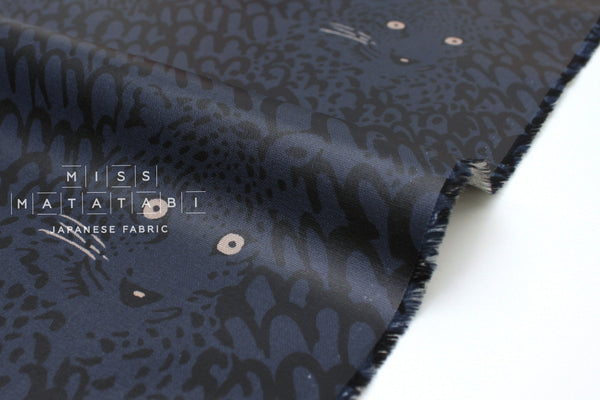 Japanese Fabric Leopard Canvas - navy blue - laminated - 50cm