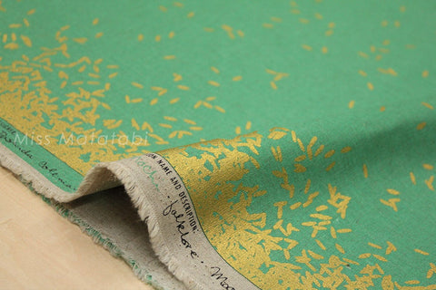 Cotton + Steel Mochi canvas - scattered mint, metallic gold- 50cm