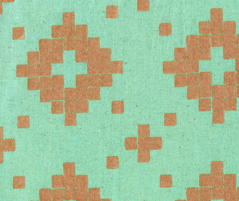 Cotton + Steel Mesa canvas - tile aqua, metallic copper - 50cm