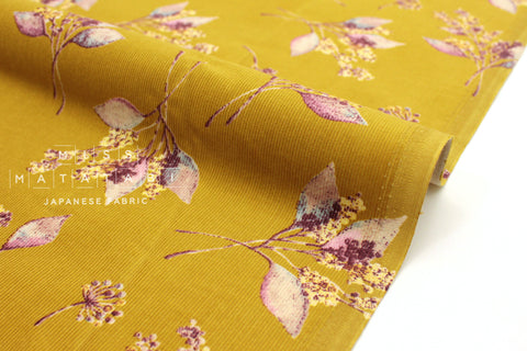 Japanese Fabric Corduroy Little Nature - mustard - 50cm